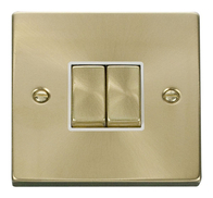 Scolmore Click Deco Satin Brass Ingot Light Switch 2 Gang 2Way VPSB412