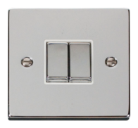 Scolmore Click Deco Polished Chrome Ingot Light Switch 2 Gang 2Way VPCH412