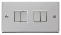 Scolmore Click Deco Polished Chrome Ingot Light Switch 4 Gang 2Way VPCH414