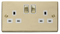 Scolmore Click Deco Polished Brass Ingot Double Socket VPBR536