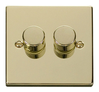 Scolmore Click Deco Polished Brass Dimmer 2 Gang 400W VPBR152