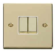 Scolmore Click Deco Polished Brass Ingot Light Switch 2 Gang 2Way VPBR412