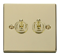 Scolmore Click Deco Polished Brass Toggle Switch 2 Gang 2Way VPBR422
