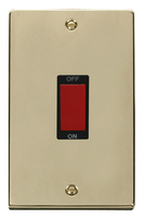 Scolmore Click Deco polished Brass 45A DP 2G Switch VPBR202BK