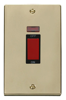 Scolmore Click Deco polished Brass 45A DP 2G Switch Neon VPBR203BK