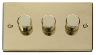 Scolmore Click Deco Polished Brass Dimmer 3 Gang 400W VPBR153