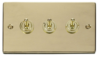 Scolmore Click Deco Polished Brass Toggle Switch 3 Gang 2Way VPBR423