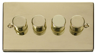 Scolmore Click Deco Polished Brass Dimmer 4 Gang 400W VPBR154