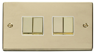Scolmore Click Deco Polished Brass Ingot Light Switch 4 Gang 2Way VPBR414