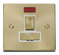 Scolmore Click Deco Satin Brass  Ingot Switched Spur Neon VPSB752WH