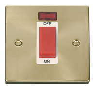 Scolmore Click Deco Satin Brass 45A DP Switch Neon VPSB201WH