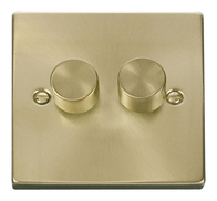 Scolmore Click Deco Satin Brass Dimmer 2 Gang 400W VPSB152