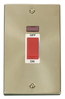 Scolmore Click Deco Satin Brass 45A DP 2G Switch Neon VPSB203WH
