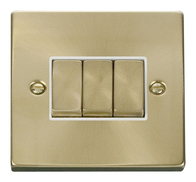 Scolmore Click Deco Satin Brass Ingot Light Switch 3 Gang 2Way VPSB413
