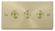 Scolmore Click Deco Satin Brass Toggle Switch 3 Gang 2Way VPSB423