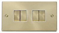 Scolmore Click Deco Satin Brass Ingot Light Switch 4 Gang 2Way VPSB414