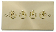 Scolmore Click Deco Satin Brass Toggle Switch 4 Gang 2Way VPSB424