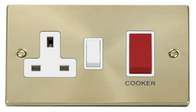 Scolmore Click Deco Satin Brass Cooker Switch & Socket VPSB204WH