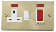 Scolmore Click Deco Satin Brass Cooker Switch & Socket Neon VPSB205WH