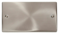 Scolmore Click Deco Satin Chrome Double Blank Plate VPSC061