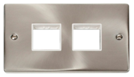 Click Deco Satin Chrome 2G 2xTwin Aperture Plate VPSC404