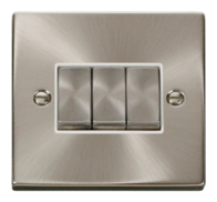 Scolmore Click Deco Satin Chrome Ingot Light Switch 3 Gang 2Way VPSC413