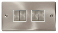 Scolmore Click Deco Satin Chrome Ingot Light Switch 4 Gang 2Way VPSC414