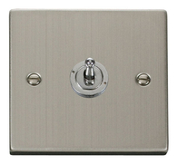 Scolmore Click Deco Stainless Steel Toggle Switch 1 Gang 2Way VPSS421