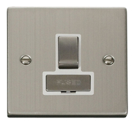 Scolmore Click Deco Stainless Steel Ingot Switched Spur VPSS751WH