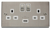 Scolmore Click Deco Stainless Steel Ingot Double Socket USB VPSS570WH