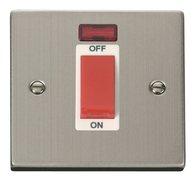 Click Deco Stainless Steel 1G 45Amp Switch with Neon VPSS201WH