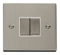Scolmore Click Deco Stainless Steel Ingot Light Switch 2 Gang 2Way VPSS412