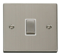 Scolmore Click Deco Stainless Steel Ingot 20A DP Switch VPSS722WH