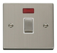 Scolmore Click Deco Stainless Steel Ingot 20A DP Switch Neon VPSS723WH