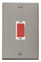 Click Deco Stainless Steel 2G 45Amp Switch VPSS202WH
