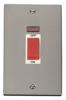Click Deco Stainless Steel 2G 45Amp Switch with Neon VPSS203WH
