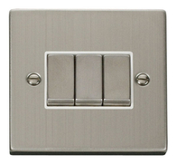 Scolmore Click Deco Stainless Steel Ingot Light Switch 3 Gang 2Way VPSS413