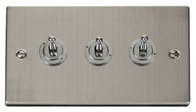 Scolmore Click Deco Stainless Steel Toggle Switch 3 Gang 2Way VPSS423
