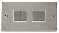 Scolmore Click Deco Stainless Steel Ingot Light Switch 4 Gang 2Way VPSS414