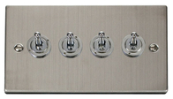 Scolmore Click Deco Stainless Steel Toggle Switch 4 Gang 2Way VPSS424