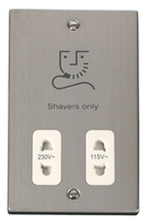 Scolmore Click Deco Stainless Steel Shaver Socket VPSS100WH