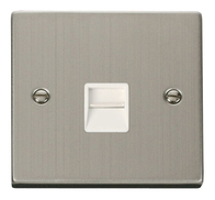 Scolmore Click Deco Stainless Steel Master Telephone VPSS120WH