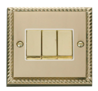 Scolmore Click Deco Georgian Style Ingot Light Switch 3 Gang 2Way GCBR413