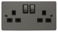 Click Define Flat Plate Black Nickel 13 Amp Twin Socket FPBN536