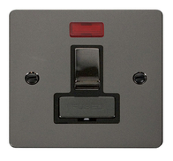 Click Define Flat Plate Black Nickel 13A Switch Fuse Spur With Neon FPBN752