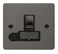 Click Define Flat Plate Black Nickel 13A Switched Fuse Spur With Outlet FPBN551BK