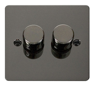 Click Define Flat Plate Black Nickel 2 Gang 2Way Dimmer 400W FPBN152