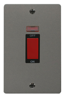 Click Define Flat Plate Black Nickel 2 Gang 45A DP Switch With Neon FPBN203