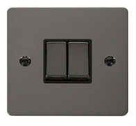 Click Define Flat Plate Black Nickel 2Gang 2Way Switch FPBN412