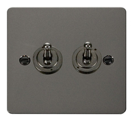 Click Define Flat Plate Black Nickel 2Gang 2Way Toggle Switch FPBN422